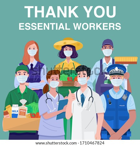 Thank You Essential Workers Concept. Various occupations people wearing face masks. Vector