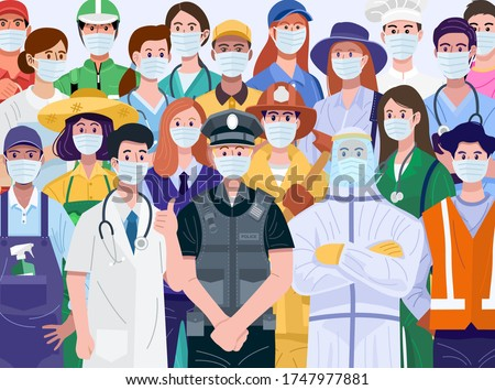 Thank You Essential Workers Concept. Various occupations people wearing face masks. Vector Сток-фото ©
