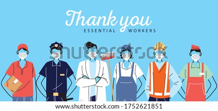 thank you essential workers, various occupations people wearing face masks vector illustration design Сток-фото ©