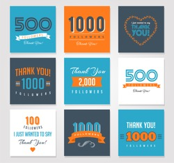 Thank you followers, badges, stickers and labels
