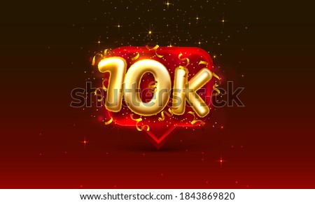 Thank you followers peoples, 10k online social group, happy banner celebrate, Vector illustration Stockfoto ©