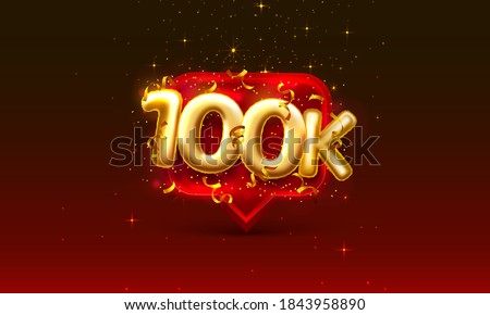 Thank you followers peoples, 100k online social group, happy banner celebrate, Vector illustration
