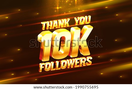 Thank you followers peoples, 10k online social group, happy banner celebrate, Vector illustration