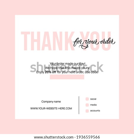 Thank you for your order - modern design with calligraphic inscription. Vector typography.