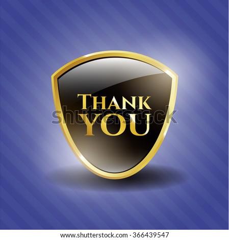 Thank you golden emblem or badge