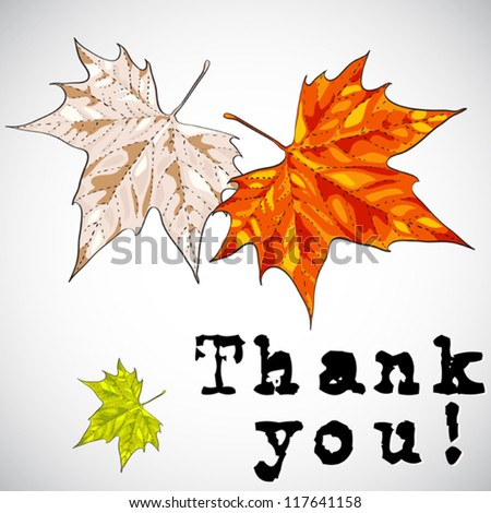 Thank you greeting card - vector illustration in hand drawn style