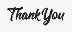 Thank you Hand drawn lettering. Calligraphic Lettering, Modern Calligraphy for thank You. Vector illustration.