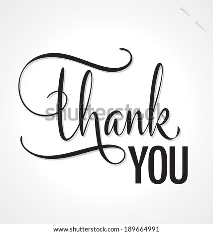 THANK YOU hand lettering custom handmade calligraphy vector eps8