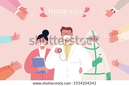 Thank you hero illustration in flat design. People clapping hand for doctors, nurses and all medical staffs who support us during covid 19 pandemic.