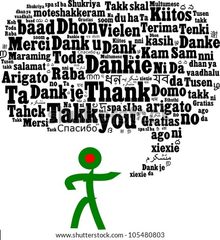Thank you in multiple languages composed in the shape of speech bubble