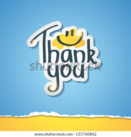 Thank You inscription on paper sticker, vector illustration