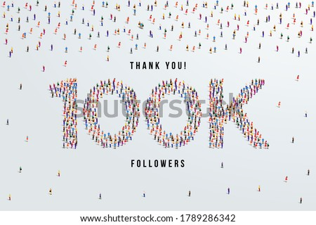 Thank you 100K or one hundred thousand followers. large group of people form to create 100K vector illustration Stock fotó ©