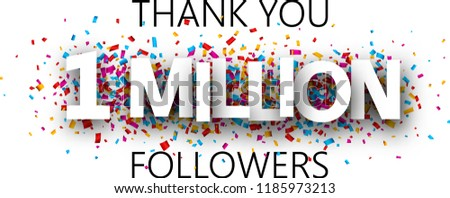 Thank you, 1 million followers. Banner with colorful confetti for social network. Vector background. Stock fotó ©
