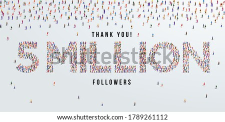 Thank you 5 million or five million followers design concept made of people crowd vector illustration. Stock fotó ©