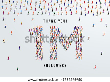 Thank you 1 million or one million followers design concept made of people crowd vector illustration. Stock fotó ©