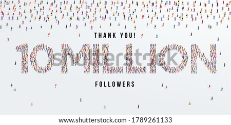 Thank you 10 million or ten million followers design concept made of people crowd vector illustration. Stock fotó ©