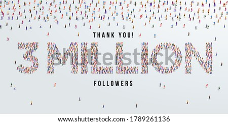 Thank you 3 million or three million followers design concept made of people crowd vector illustration. Stock fotó ©