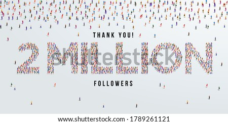 Thank you 2 million or two million followers design concept made of people crowd vector illustration. Stock fotó ©