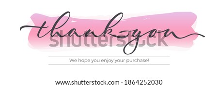 Thank you - modern design with calligraphic inscription and watercolor effect on background. Vector typography. Stock photo ©