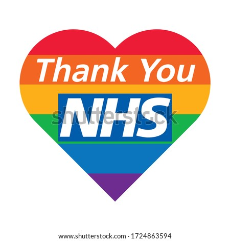 Thank you NHS rainbow love heart vector Coronavirus 2020 pandemic UK