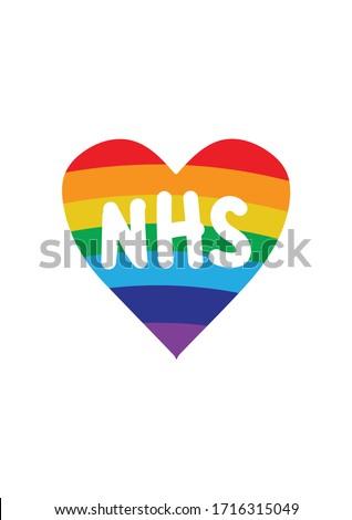 Thank you NHS rainbow loveheart vector- Coronavirus 2020 pandemic
