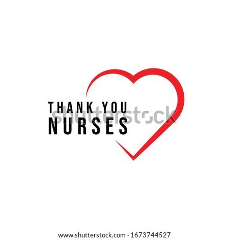thank you nurses heart design vector