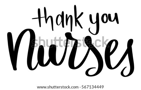 Thank You Nurses text hand lettered vector