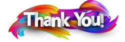 Thank you poster with spectrum brush strokes on white background. Colorful gradient brush design. Vector paper illustration.