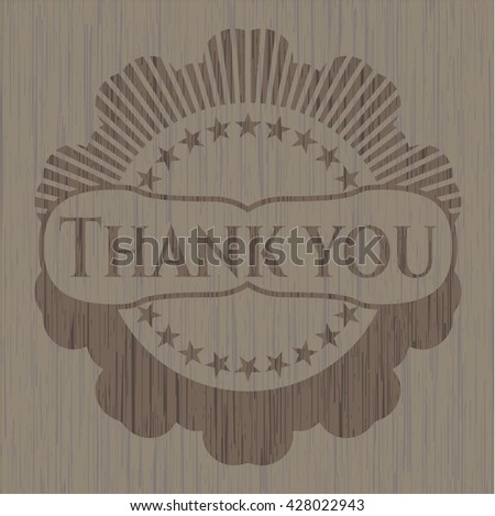 Thank you retro wooden emblem