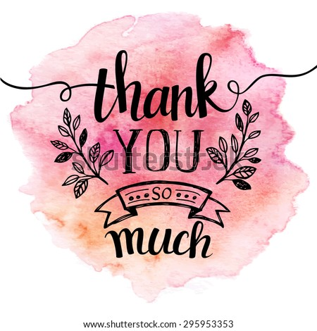 thank you so mach hand lettering watercolor background eps 10