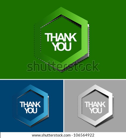 Thank you speech as sticker / label with peel off design.