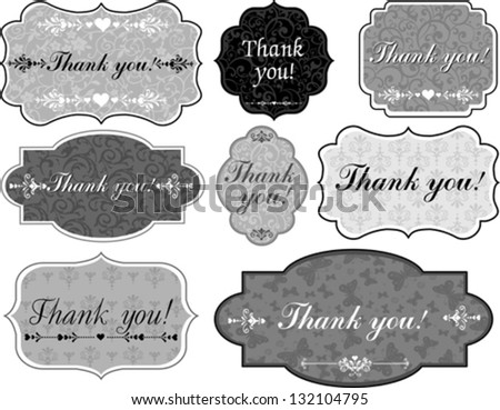 Thank You Tag. Collection of design elements isolated on White background. Vector illustration