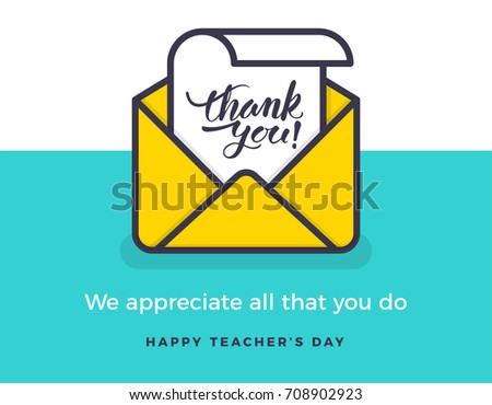 Thank You Teachers. Teacher's Day Vector. Hand Drawn Thank You Card Teacher Appreciation Idea. eps 10