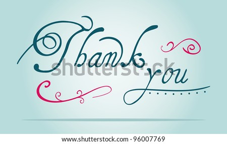 thank you text - stock vector