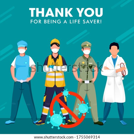 Thank you to all the warriors who fighting for us in this crisis such as doctor, police, essential workers being a lifesaver. Stop Coronavirus (Covid-19) Concept.