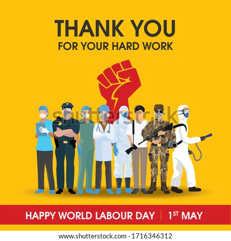 Thank you to all workers for your hard work with vector and orange background. Happy world labour day, 1st may.
