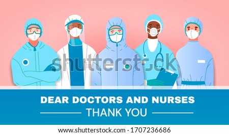Thank You tribute or card to doctors and nurses fighting in the front line against the coronavirus or Covid-19 with diverse group in uniforms and masks, vector illustration