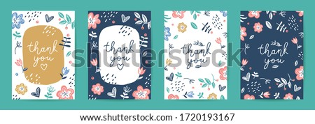 thank you, vector cards set of lettering and scandinavian flowers