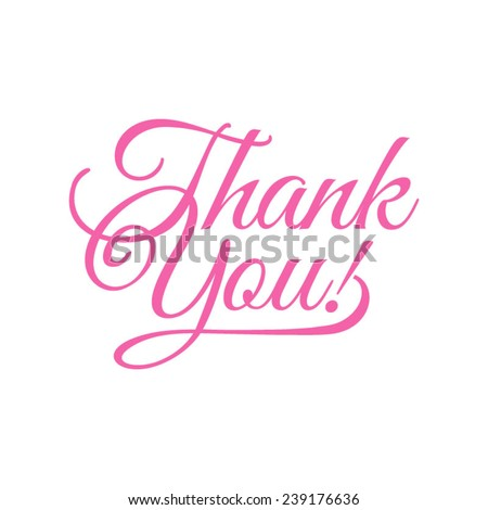 thank you/ vector illustration/ pink words on a white background
