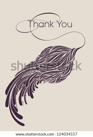 Thank You vector lettering with striped flower.