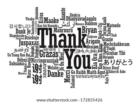 thank you word cloud in vector