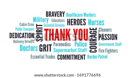 Thank you wordcloud for coronavirus covid-19 to nurses healthcare and frontline workers with text