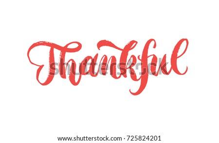 Thankful Calligraphy Handwriting Brush-pen Word #725824201