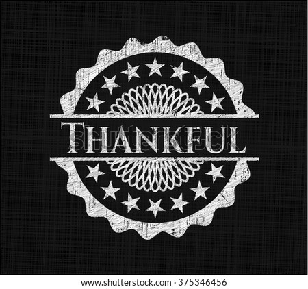 Thankful chalk emblem, retro style, chalk or chalkboard texture