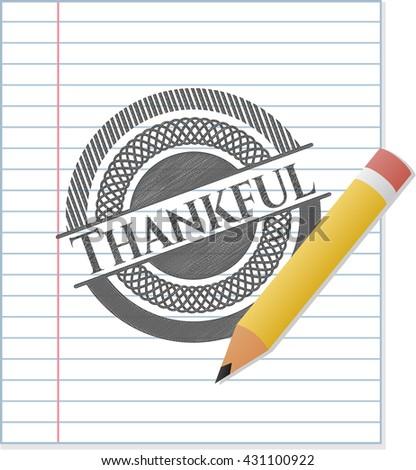 Thankful emblem draw with pencil effect