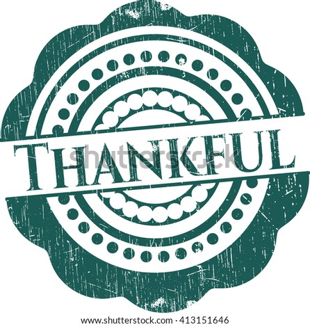 Thankful rubber stamp with grunge texture