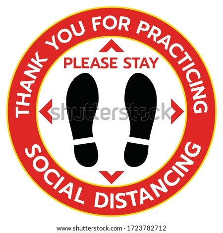 Thanks For Practicing Social Distancing Floor sticker Sign,Social distancing. Footprint sign. Coronavirus epidemic protective.-Vector illustration