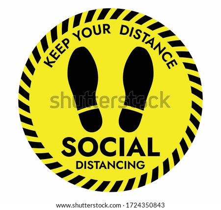Thanks For Practicing Social Distancing Floor sticker Sign, Social distancing. Footprint sign. Keep the 6 feet or 1-2 meter distance apart. Coronavirus epidemic protective. Vector illustration