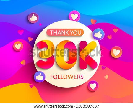 Thanks for the 30000 followers. Thank you 30K follower congratulation card on wavy background. Vector illustration for Social Networks. Web user or blogger celebrates a large number of subscribers.
