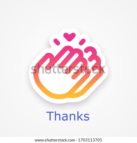 Thanks for your help, symbol, sticker template. Thank you hour sign mockup. Clapping icon. Social media concept. Vector illustration. EPS 10